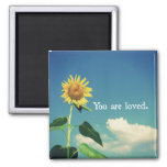 You are Loved with Sunflower Square Magnet