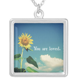 You are Loved with Sunflower Square Pendant Necklace