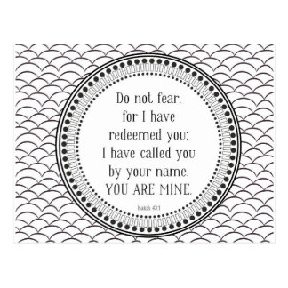 You are mine, black-and-white scripture postcard