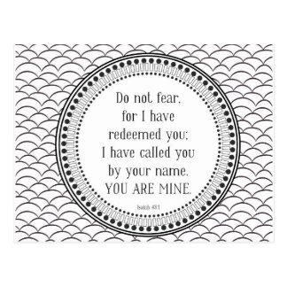 You are mine, black-and-white scripture postcard
