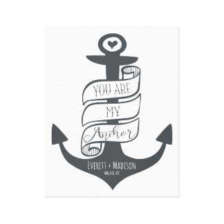 """""""You are my Anchor"""" Personalised Couples Wedding Canvas Print"""