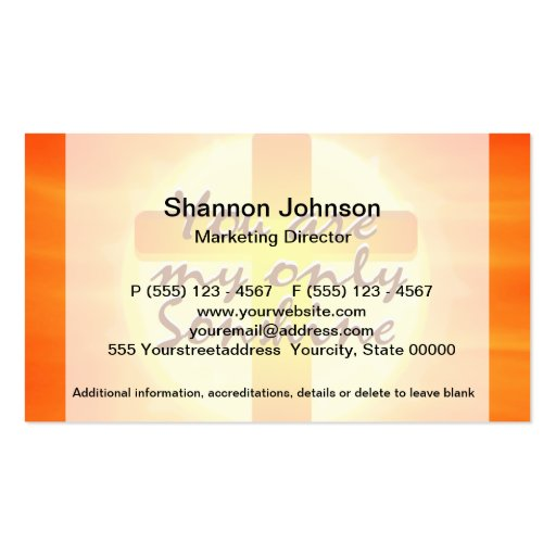You are My Only Sunshine with Cross Business Card Template