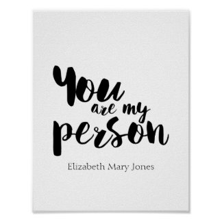 You Are My Person Cute Quote Wall Art