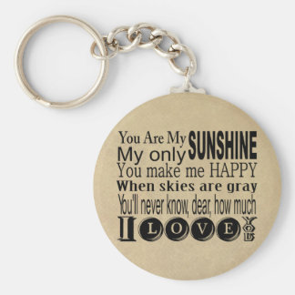 You Are My Sunshine Apparel and Gifts Basic Round Button Key Ring