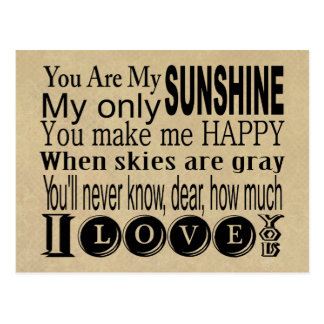 You Are My Sunshine Apparel and Gifts Postcard