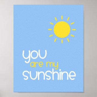 You Are My Sunshine Blue Nursery Art Decor Poster