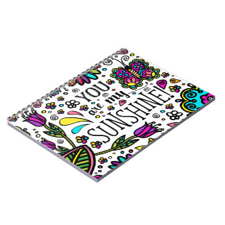 You are my Sunshine Bold Colorful Butterfly Art Notebook