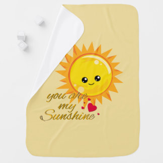 You Are My Sunshine Cute Kawaii Sun Yellow Nursery Baby Blanket