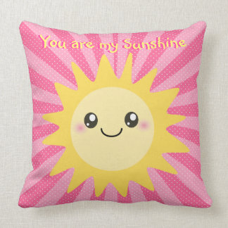 You are my Sunshine cute sun Throw Pillow