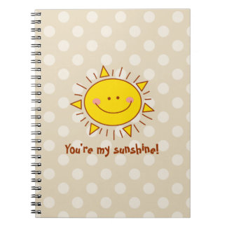 You Are My Sunshine Happy Cute Smiley Sunny Day Spiral Note Book