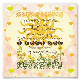 You are my sunshine heart design art photo