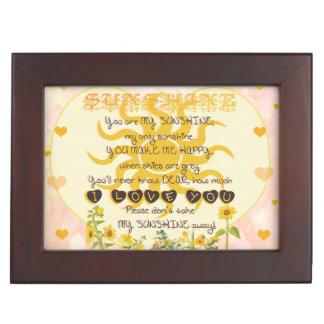 You are my sunshine heart design keepsake boxes