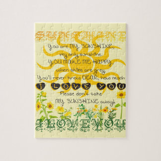 You Are My Sunshine in Yellow with Hearts Jigsaw Puzzle