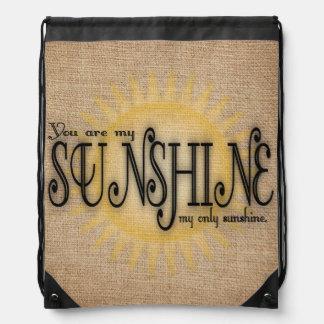 You Are My Sunshine on Burlap Drawstring Bag