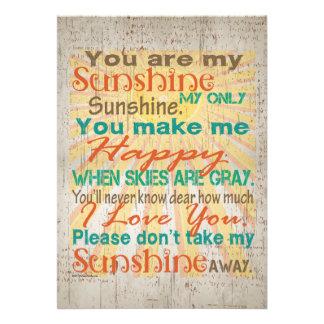 You are my Sunshine Orange Teal Cream Invite
