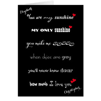 You Are My Sunshine Personalized I Love You Card