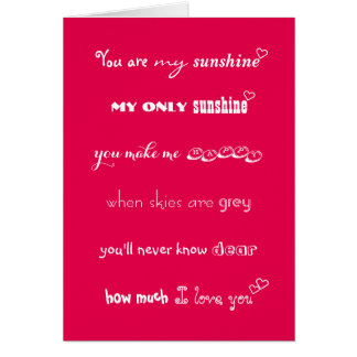 You Are My Sunshine Personalized Love Hearts Card