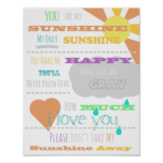 "You are My Sunshine Poster 11""x14"""