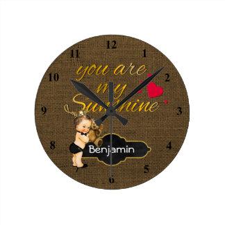 You Are My Sunshine Prince | Burlap Boy Nursery Round Clock