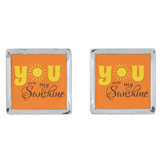 You are my sunshine silver finish cufflinks