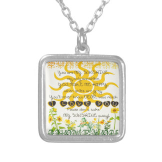 You are my sunshine... square pendant necklace