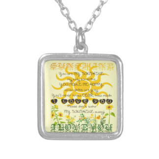 You are my sunshine. square pendant necklace