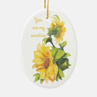 You are my Sunshine Sunflower floral Quote Christmas Ornament