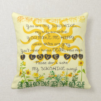 You are my sunshine. throw pillow