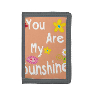 """You are my sunshine"" Typography - Orange Trifold Wallet"