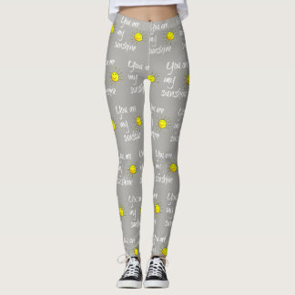 you are my sunshine (white text on gray) leggings