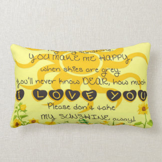 You are My Sunshine with Flowers in Yellow Lumbar Cushion
