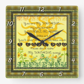 You are My Sunshine with Flowers in Yellow Square Wall Clock