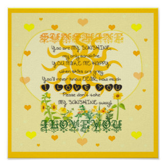 You are My Sunshine with Hearts Poster