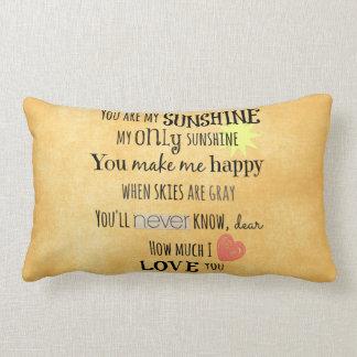 You are my Sunshine Word Art Typography Lumbar Pillow