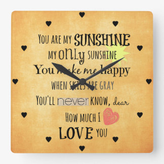 You are my Sunshine Word Art Typography Square Wall Clock