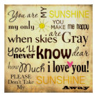 You are my Sunshine Word Art Vintage Background Poster