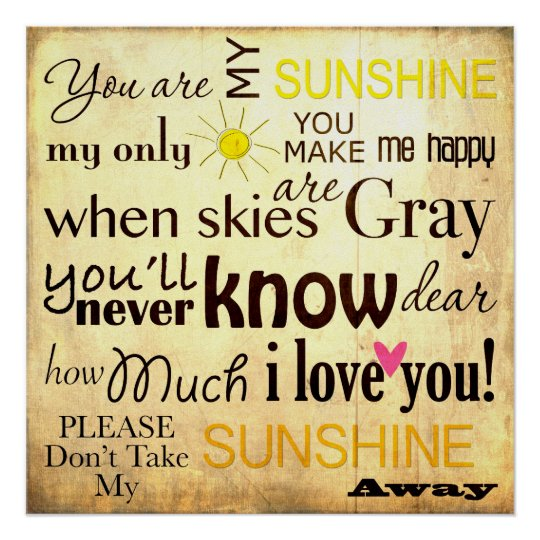 You are my Sunshine Word Art Vintage Background