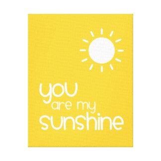 You Are My Sunshine Yellow Nursery Art Decor Gallery Wrap Canvas