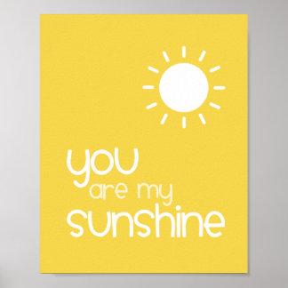 You Are My Sunshine Yellow Nursery Art Decor Poster