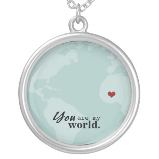You are my world with moveable HEART Round Pendant Necklace
