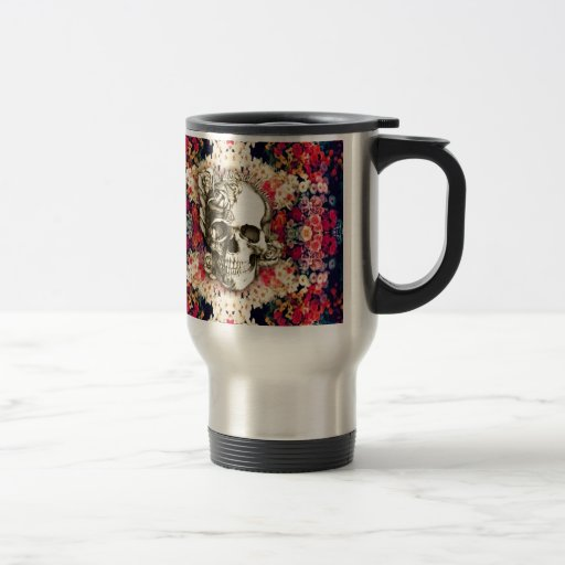 You are not here floral day of the dead skull coffee mug