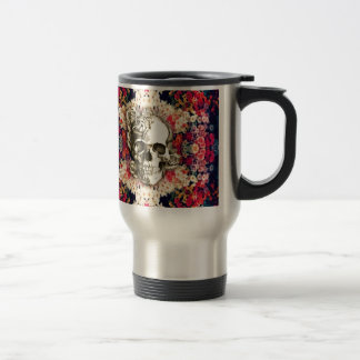 You are not here floral day of the dead skull stainless steel travel mug