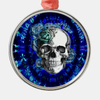 You are not here trippy rose skull in navy/ mint christmas ornament