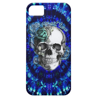 You are not here trippy rose skull in navy/ mint iPhone 5 case