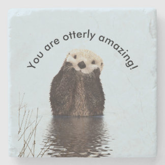 You are Otterly Amazing Funny Pun with Cute Otter Stone Coaster