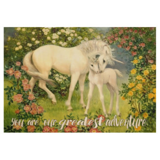 You Are Our Greatest Adventure Unicorn Wood Poster