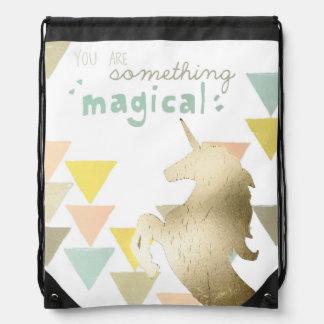 You Are Something Magical Gold Unicorn Drawstring Bag