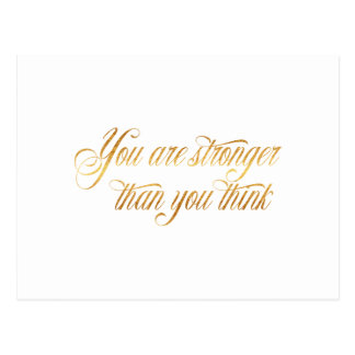 You Are Stronger Quote Gold Faux Foil Quotes Postcard