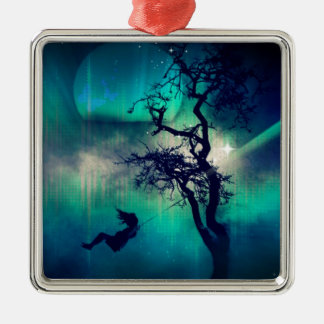 You Are the Light Turquoise Silver-Colored Square Decoration