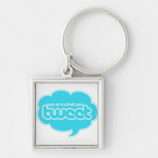 You are what you tweet Silver-Colored square key ring